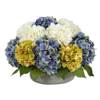 16 Hydrangea Artificial Arrangement in Gray Vase - SKU #A1439