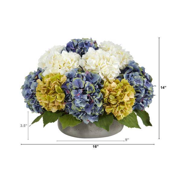 16 Hydrangea Artificial Arrangement in Gray Vase - SKU #A1439 - 1
