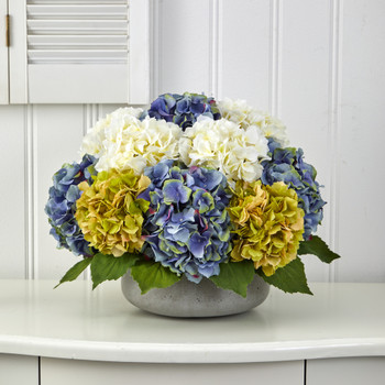 16 Hydrangea Artificial Arrangement in Gray Vase - SKU #A1439