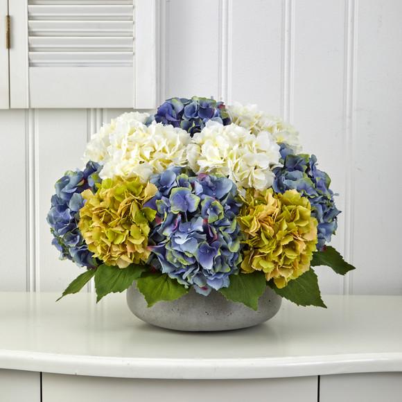 16 Hydrangea Artificial Arrangement in Gray Vase - SKU #A1439 - 2