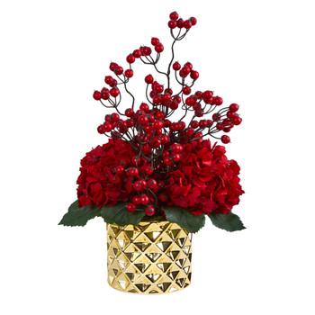 18 Hydrangea and Berries Artificial Arrangement in Gold Vase - SKU #A1440