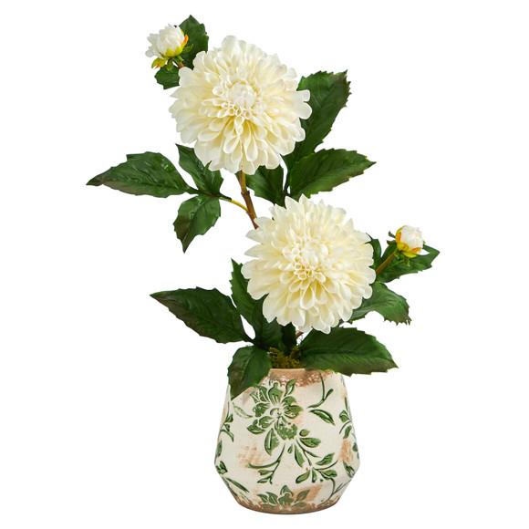 18 Dahlia Artificial Arrangement in Floral Vase - SKU #A1441