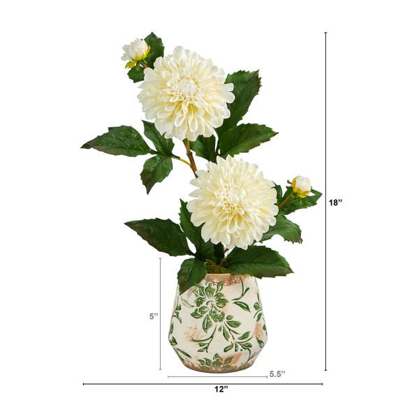 18 Dahlia Artificial Arrangement in Floral Vase - SKU #A1441 - 1