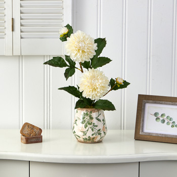 18 Dahlia Artificial Arrangement in Floral Vase - SKU #A1441