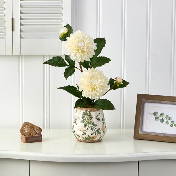 18 Dahlia Artificial Arrangement in Floral Vase - SKU #A1441 - 2