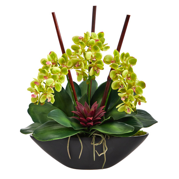 21 Phalaenopsis Orchid and Succulent Artificial Arrangement in Black Vase - SKU #A1442