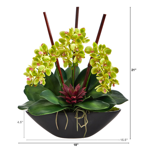 21 Phalaenopsis Orchid and Succulent Artificial Arrangement in Black Vase - SKU #A1442 - 1