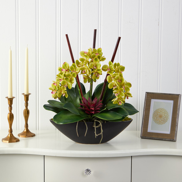 21 Phalaenopsis Orchid and Succulent Artificial Arrangement in Black Vase - SKU #A1442 - 2