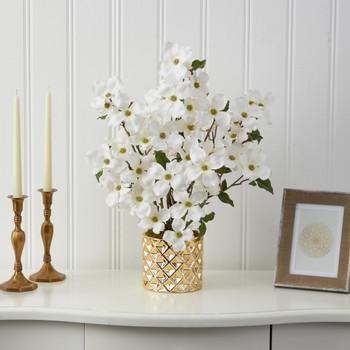 22 Dogwood Artificial Arrangement in Gold Vase - SKU #A1443