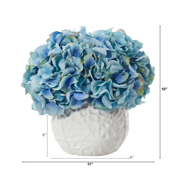 11 Hydrangea Artificial Arrangement in White Vase - SKU #A1444 - 1
