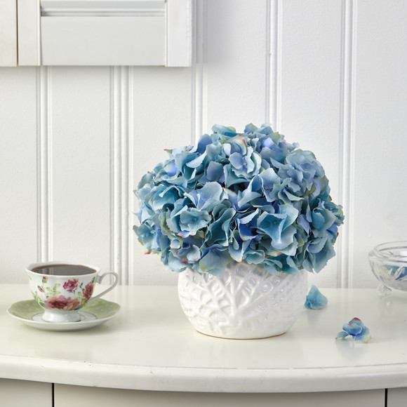 11 Hydrangea Artificial Arrangement in White Vase - SKU #A1444 - 2