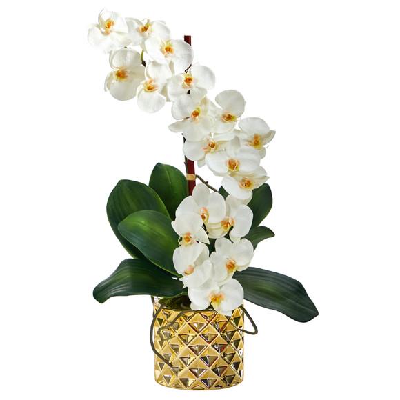 22 Phalaenopsis Orchid Artificial Arrangement in Gold Vase - SKU #A1445