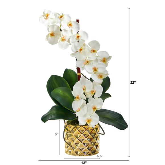 22 Phalaenopsis Orchid Artificial Arrangement in Gold Vase - SKU #A1445 - 1