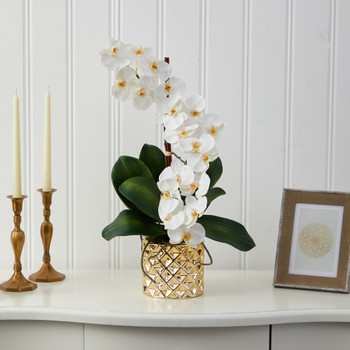22 Phalaenopsis Orchid Artificial Arrangement in Gold Vase - SKU #A1445