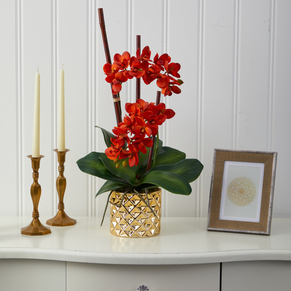 24 Phalaenopsis Orchid Artificial Arrangement in Gold Vase - SKU #A1446