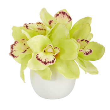 8 Cymbidium Orchid Artificial Arrangement in White Vase - SKU #A1447