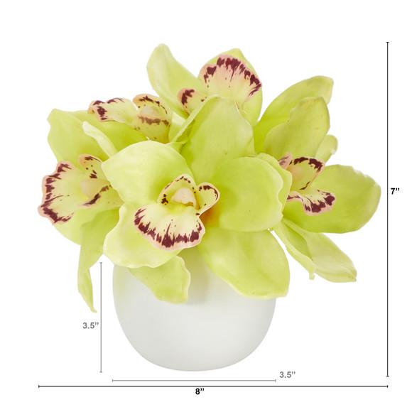 8 Cymbidium Orchid Artificial Arrangement in White Vase - SKU #A1447 - 1
