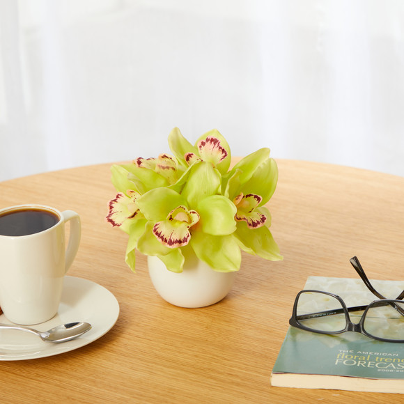 8 Cymbidium Orchid Artificial Arrangement in White Vase - SKU #A1447 - 2