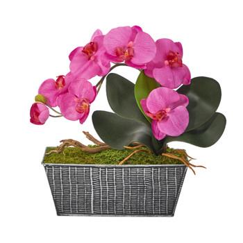 13 Phalaenopsis Orchid Artificial Arrangement in Embossed Tin Vase - SKU #A1448