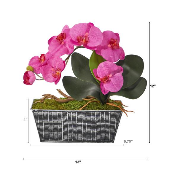 13 Phalaenopsis Orchid Artificial Arrangement in Embossed Tin Vase - SKU #A1448 - 1