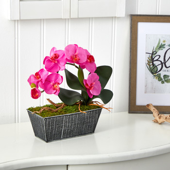 13 Phalaenopsis Orchid Artificial Arrangement in Embossed Tin Vase - SKU #A1448