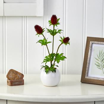 14 Thistle Artificial Arrangement in White Vase - SKU #A1449-RD