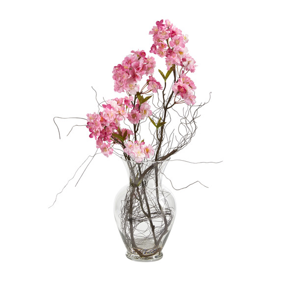 24 Cherry Blossom Artificial Arrangement in Glass Vase - SKU #A1450