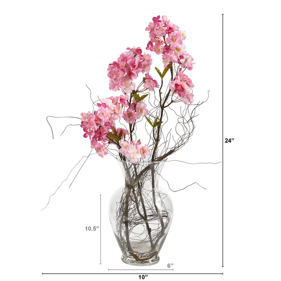 24 Cherry Blossom Artificial Arrangement in Glass Vase - SKU #A1450 - 1