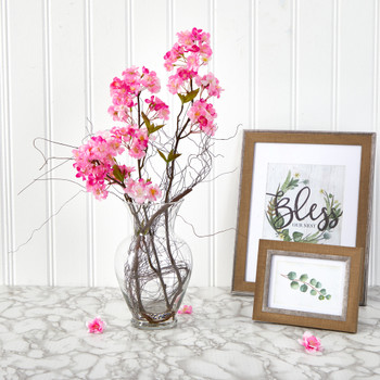 24 Cherry Blossom Artificial Arrangement in Glass Vase - SKU #A1450