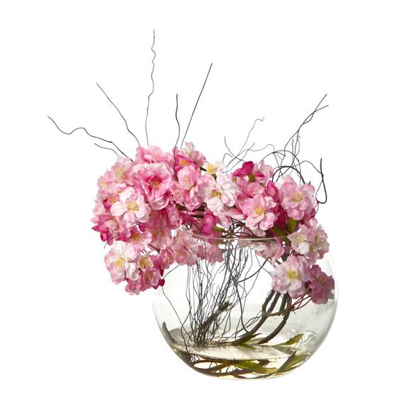 10 Cherry Blossom Artificial Arrangement in Glass Vase - SKU #A1451