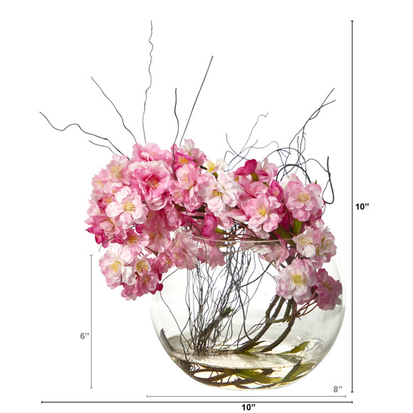 10 Cherry Blossom Artificial Arrangement in Glass Vase - SKU #A1451 - 1