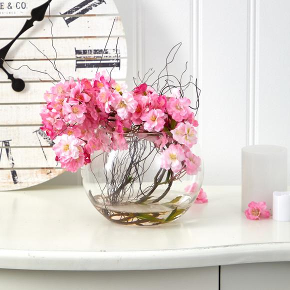10 Cherry Blossom Artificial Arrangement in Glass Vase - SKU #A1451 - 2