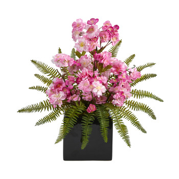 17 Cherry Blossom and Fern Artificial Arrangement in Black Vase - SKU #A1452
