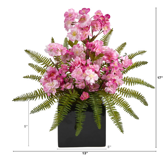 17 Cherry Blossom and Fern Artificial Arrangement in Black Vase - SKU #A1452 - 1