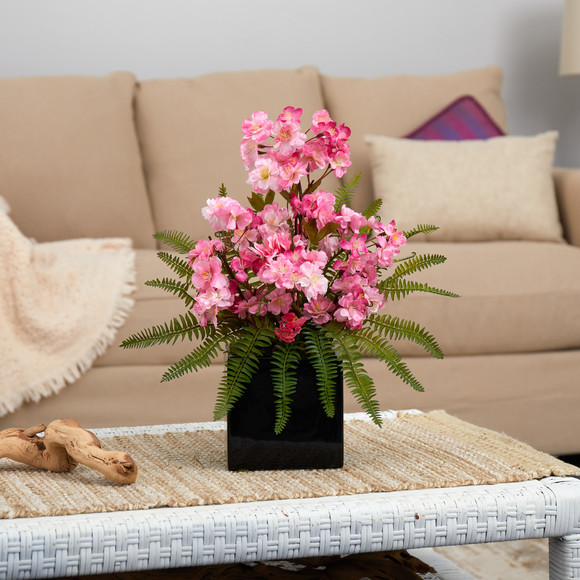 17 Cherry Blossom and Fern Artificial Arrangement in Black Vase - SKU #A1452 - 2