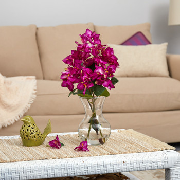17 Bougainvillea Artificial Arrangement in Glass Vase - SKU #A1453-PP