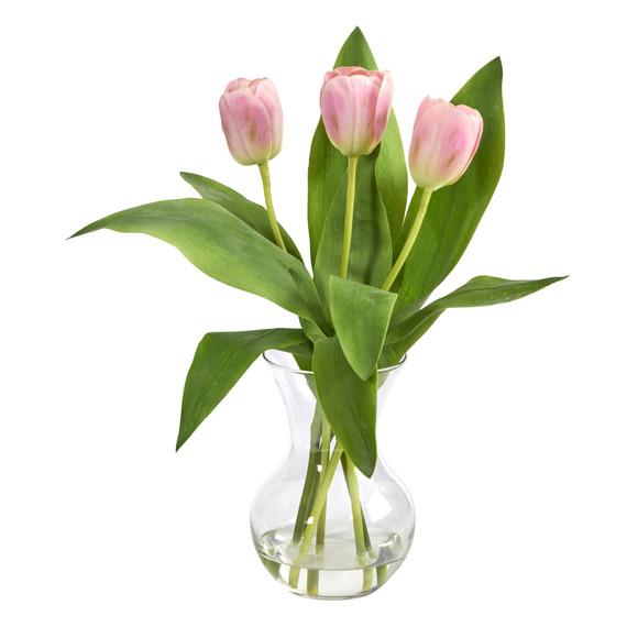 15 Tulip Artificial Arrangement in Glass Vase - SKU #A1454-PK