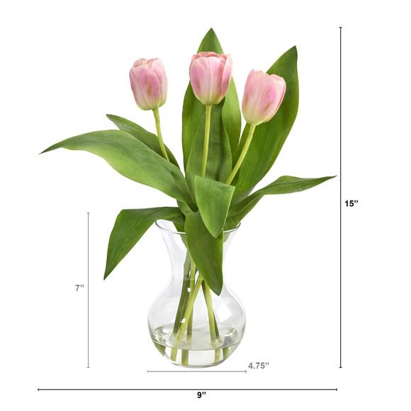 15 Tulip Artificial Arrangement in Glass Vase - SKU #A1454-PK - 1
