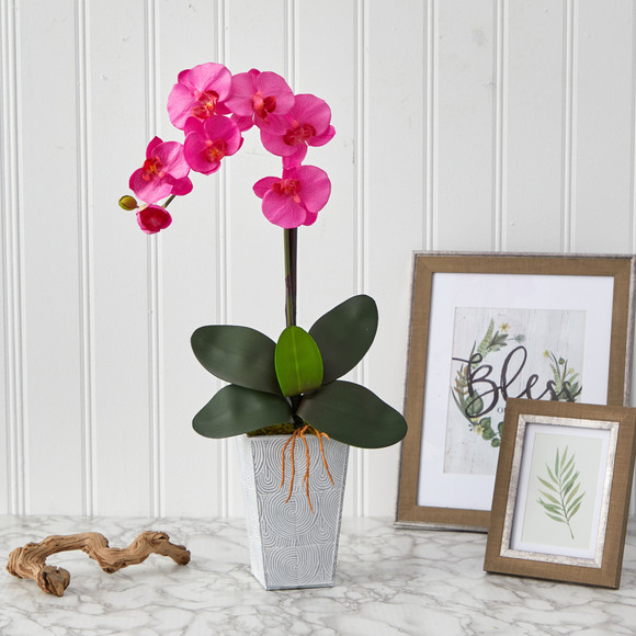27 Phalaenopsis Orchid Artificial Arrangement in Embossed White Planter - SKU #A1455-DP