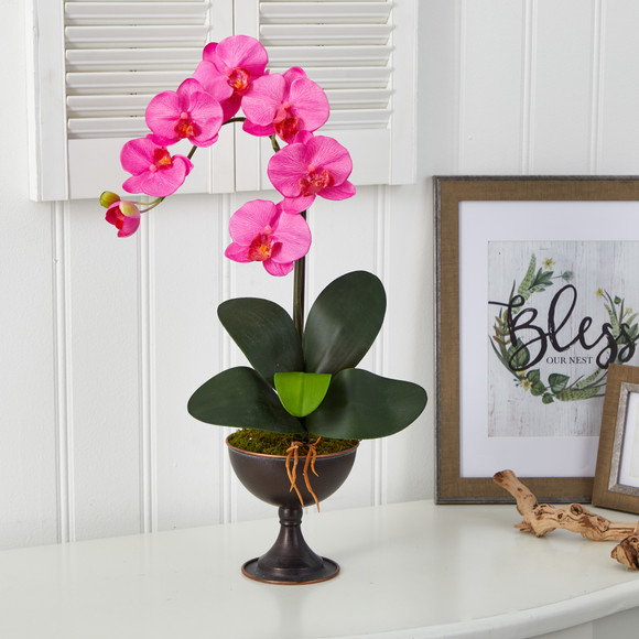 22 Phalaenopsis Orchid Artificial Arrangement in Metal Chalice - SKU #A1456