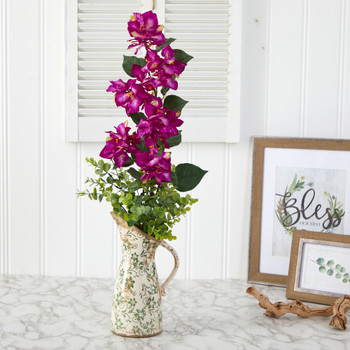 27 Bougainvillea and Eucalyptus Artificial Arrangement in Floral Pitcher - SKU #A1457