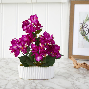 13 Bougainvillea Artificial Arrangement in White Vase - SKU #A1458-PP
