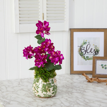 20 Bougainvillea Artificial Arrangement in Floral Vase - SKU #A1459-PP