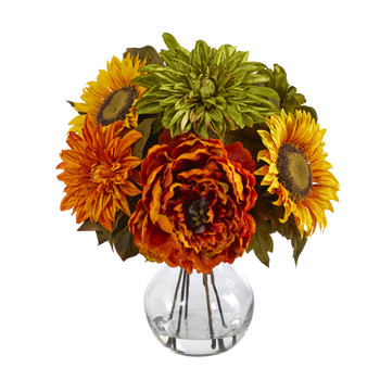 12 Peony Dahlia and Sunflower Artificial Arrangement in Glass Vase - SKU #A1460