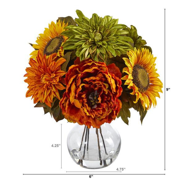 12 Peony Dahlia and Sunflower Artificial Arrangement in Glass Vase - SKU #A1460 - 1