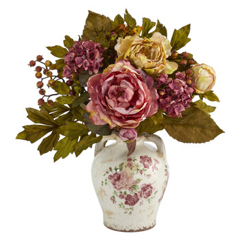 16 Peony Artificial Arrangement in Flower Print Jar - SKU #A1463