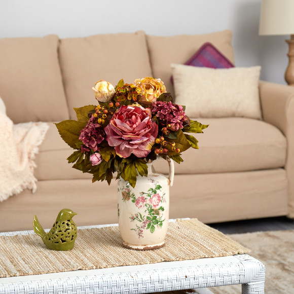 18 Peony Artificial Arrangement in Floral Pitcher - SKU #A1464
