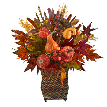 21 Pumpkin Maple Leaf and Sorghum Harvest Artificial Arrangement in Metal Planter - SKU #A1465