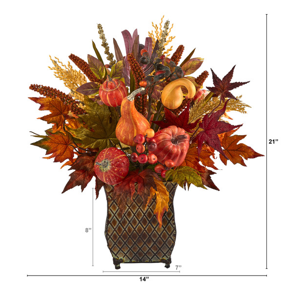 21 Pumpkin Maple Leaf and Sorghum Harvest Artificial Arrangement in Metal Planter - SKU #A1465 - 1