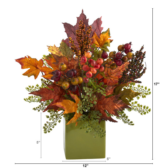 17 Maple Leaf Berries and Maiden Hair Artificial Arrangement in Green Vase - SKU #A1466 - 1